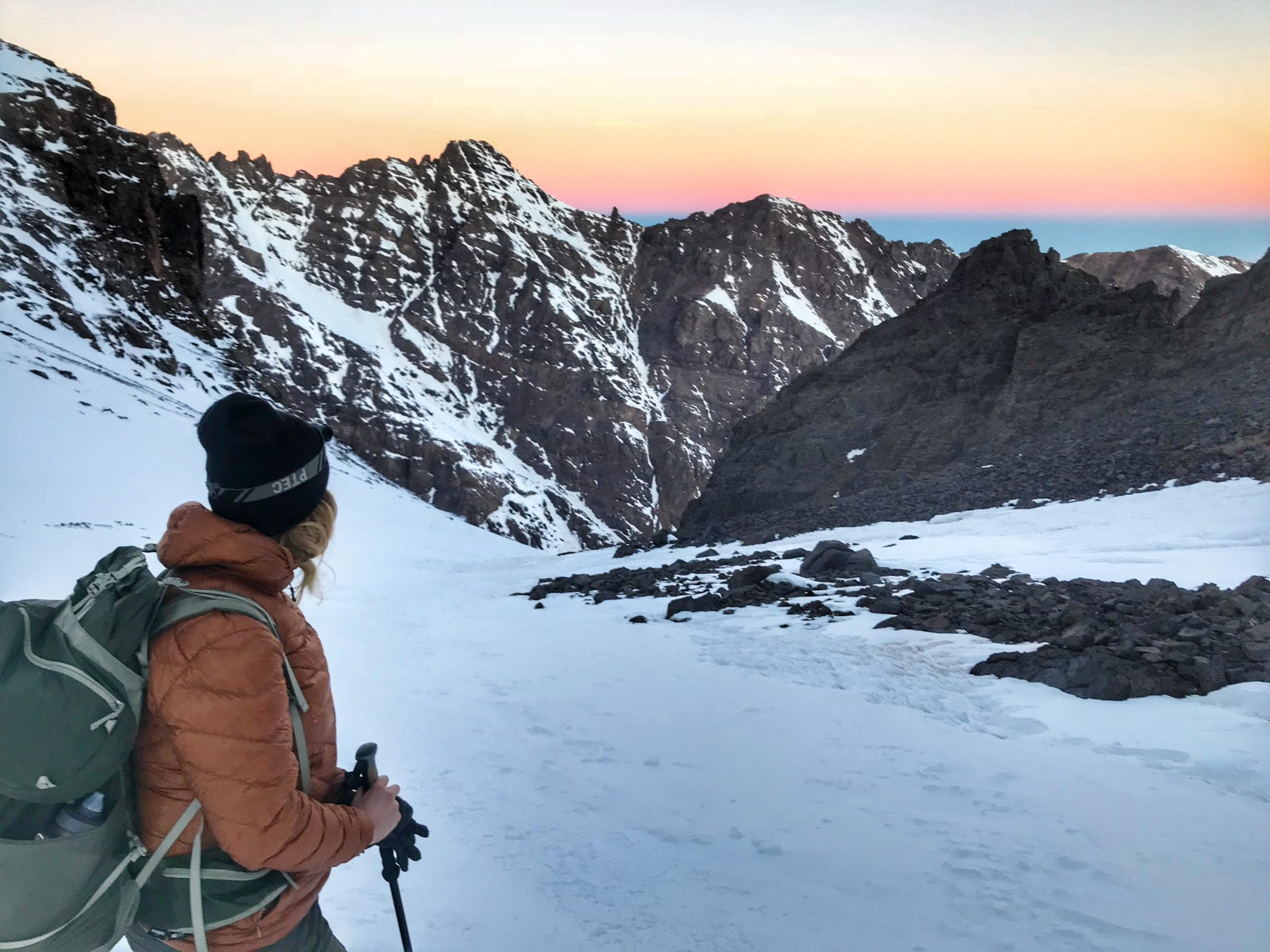 Trekking Mount Toubkal in the wintertime.