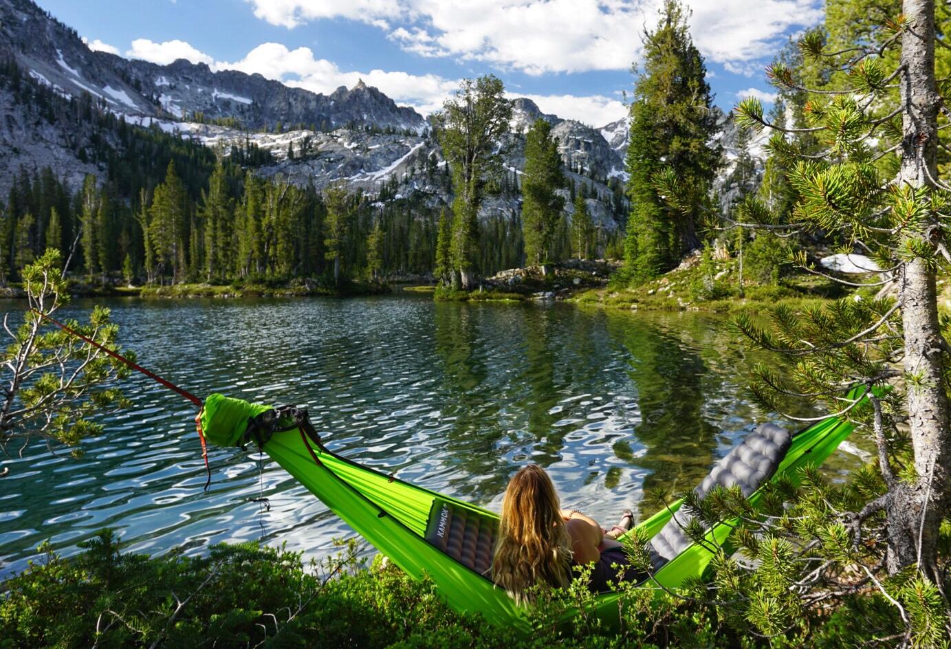 Hammock camping at Alice Lake Stanley Idaho.